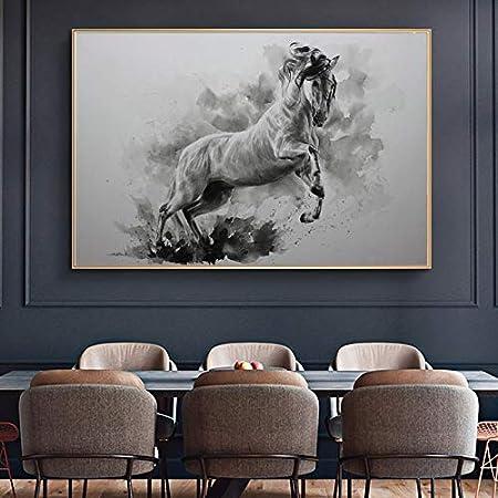 PLjVU Pintura al óleo Moderna Carteles de Animales de Caballo Blanco y Negro y murales Impresos Impresos en Lienzo para la decoración de la Sala de Estar-Sin Marco
