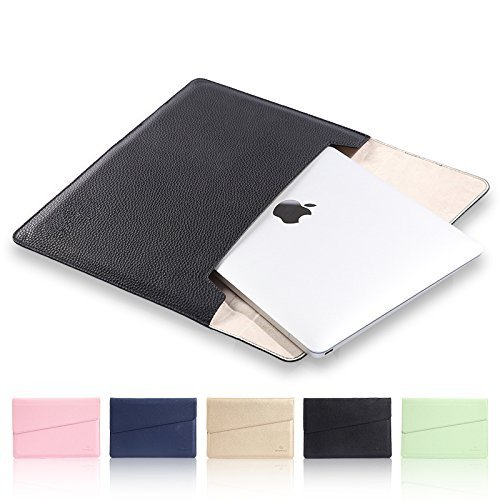 15.4 inch Laptop Sleeve,TechCode New MacBook Bag Tablet Bag,Soft PU Leather Protective Notebook Bag Envelope Package Carrying Case Cover for all 15 inch/15.4 inch Display(15-15.4 inch,Black)