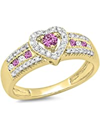 14K Gold Round Cut Pink Sapphire & White Diamond Ladies Bridal Heart Shaped Promise Engagement Ring