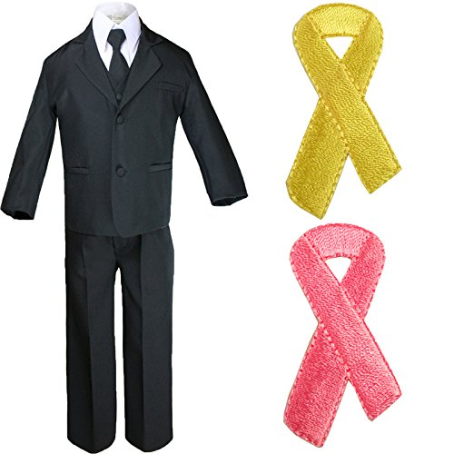 5pc Baby Boy Teen Black Suit w/Cancer Awareness Ribbon Adhesive Love Hope Patch (5, Add Pink Ribbon) by Unotux (Image #7)