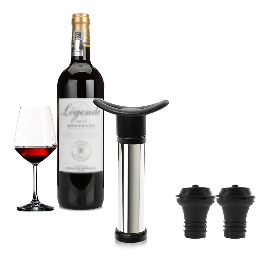 Vicloon Vacuum Weinverschluss Weinpumpe Edelstahl mit 2 x Stopfen Schwarz BHBUKALIAINH1138