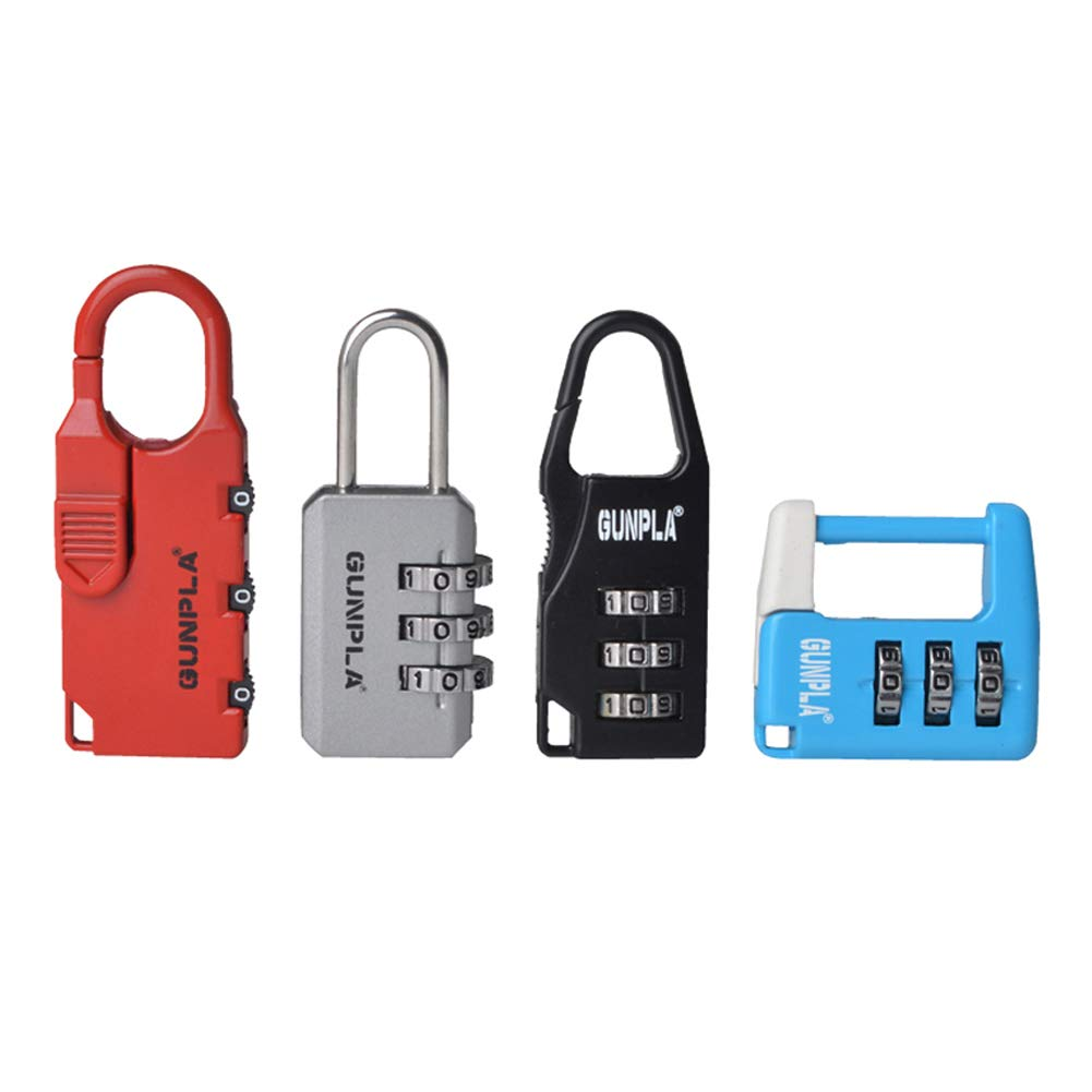 Gunpla 4 Piezas Candados Combinació n de 3 Dí gitos Có digo Reajustable Candado de Seguridad Para Maleta, Vestuario, Gimnasio