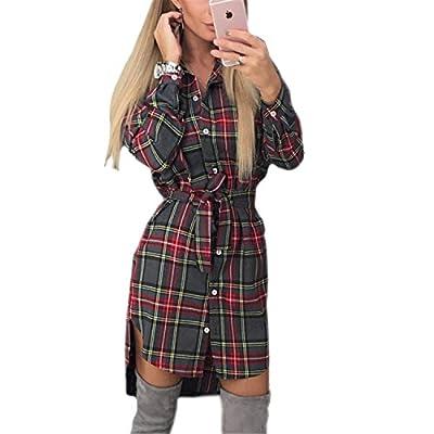 Olive Tayl Vintage Dresses Autumn Fall Women Plaid Print Dress NEW Casual Shirt Dress Sexy Mini Vestidos GV426