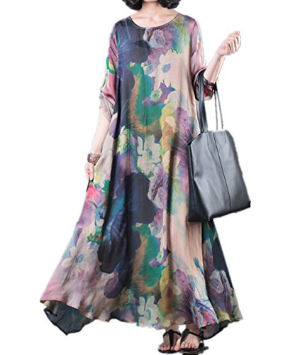 Yesno JO5 Loose Colorful Floral Swing Dress 100% Silk Roll-up Sleeve Summer Beach Side Pocket/Slip