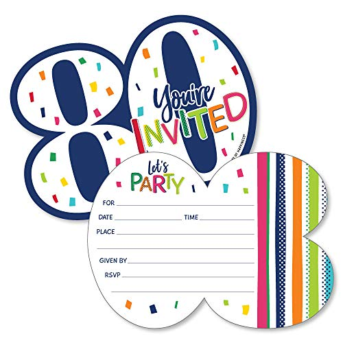 80th Birthday - Cheerful Happy Birthday - Shaped Fill-In Invitations - Colorful Eightieth Birthday Party Invitation Cards with Envelopes - Set of 12 for $<!--$13.99-->