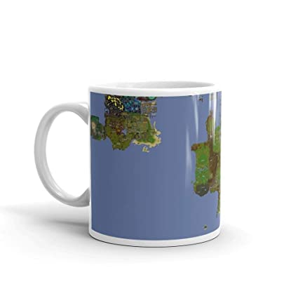 Old Runescape World Map.Amazon Com Oldschool Runescape World Map Mug 11 Oz White Ceramic