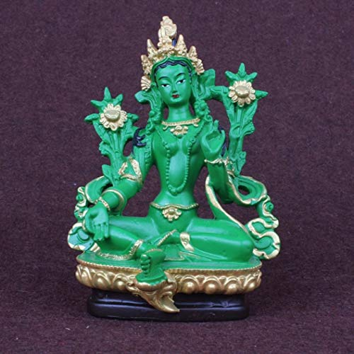RXIN Green Tara Buddha Statues Stand for Wisdom/Disaster Relief/Extended Life, Buddhism Figurines Blessing Home Decor