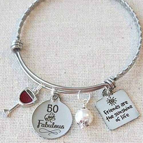 Milestone 50th Birthday Gift for Friend, 50th BIRTHDAY Gift for Her, Friends are the Sunshine of Life Bangle Bracelet, 50 and Fabulous Wine Glass Charm -