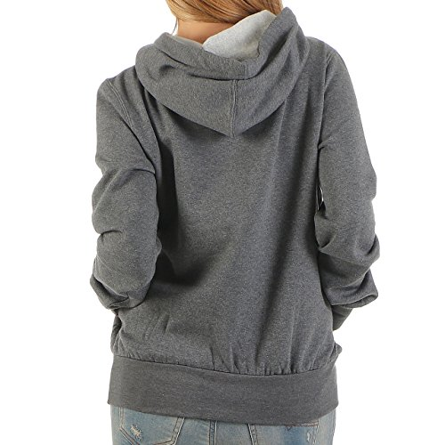 91G5 Finchgirl Lady Hood F1021 Damen Pullover Hoody Kapuzen Dunkelgrau Gr M