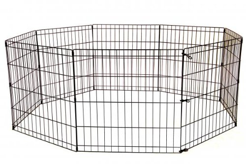 24 Tall Dog Playpen Crate Fence Pet Kennel Play Pen Exercise Cage -8 Panel -