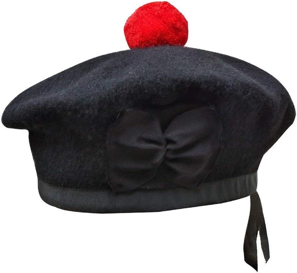 Men's Scottish Glengarry Balmoral Kilt Hats Diced & Plain 100% Wool Piper 52-62 AAR