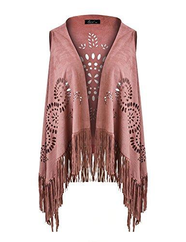 Ferand Suedette V-Neck Front-Open Fringe Sleeveless Cardigan Gilet Vest with Punch Hole Patterns for Ladies, Pink