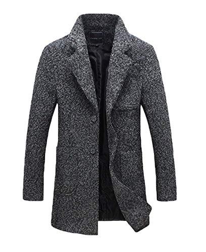 Breasted Outerwear Single Apparel Front Coat Sleeve Grau Jacket Jackets Coat Huixin Lapel Men's Outwear Pockets Coat Dunkel Long gcBOx