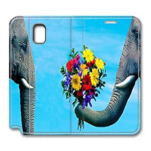 Brian114 Samsung Galaxy Note 3 Case, Note 3 Case - Customized Leather Case for Samsung Note 3 Elephant Love Protective Stand Leather Case for Samsung Galaxy Note 3