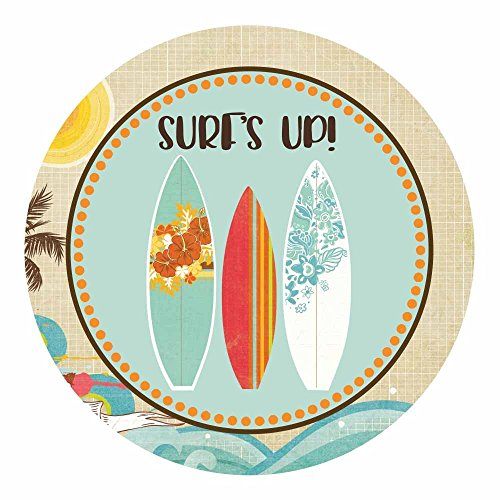 Surf's Up Surfer Sticker Labels - Surf Party Stickers for Summer Beach Party Decoration - Set of 30 -