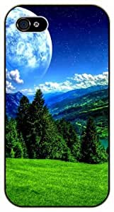 Fantasy moon, mountains and green forest - iPhone 5C black plastic case / Flowers and Nature, floral, flower