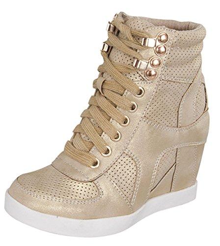 Top Moda Eric-9 Women's High Top Lace Up Fashion Sneaker Wedge - Gold Nub PU,6.5 B(M) US,Gold Nub PU