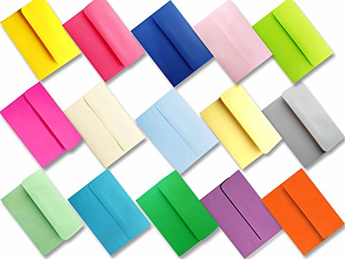 Assorted Multi Colors 100 Boxed A6 Envelopes for 4 1/2 X 6 1/4 Greeting Cards, Invitations Announcements - Astrobrights & More from The Envelope Gallery