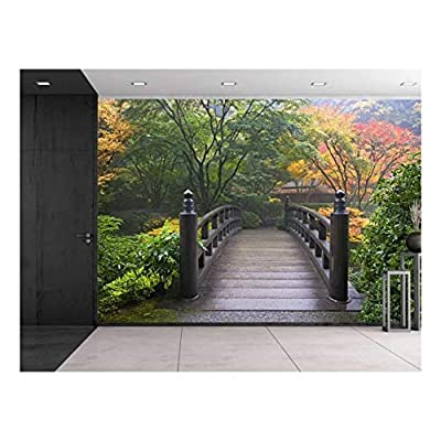 Bridge on a Japanese Garden Surrounded by Trees - Wall Mural, Removable Sticker, Home Decor - 100x144 inches