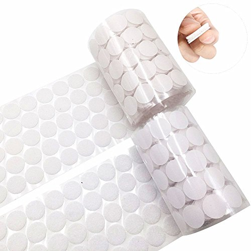 Bettli Nylon Coins Hook and Loop Strips, 500 pcs (250 Pair Sets) 20mm Diameter Round Pads Sticker with Self Adhesive Dots and Waterproof Sticky Glue Fastener (White) - Diameter Loop