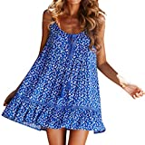 2019 Womens Summer Casual Button Loose Dress Solid Color Stand Sleeveless Midi Dresses Daily Dress (Blue, S)