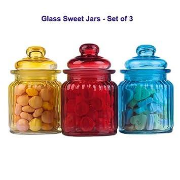 Indiabazaar - Set di 3 barattoli colorati per dolciumi in vetro ...