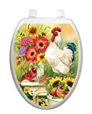 Garden Bench Toilet Tattoo TT-1091- O Elongated Rooster Cardinal Seat Decal