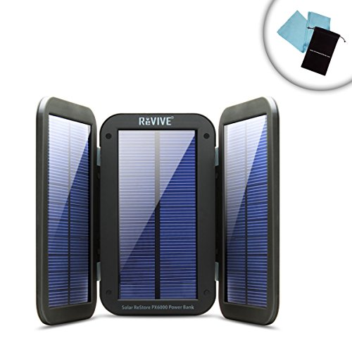 ReVIVE ReStore PX6000 Multipurpose Solar Charger Power Bank with 6000mAh , Folding Design & Built-In Kickstand - Perfect for a day of Fishing - Includes Bonus Cleaning Cloth and Accessory Bag