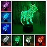 led light bar bulldog - French Bulldog 3D LED Night Lamp 7 Colors Chage USB Hologram Decor Lamp Table Desk Lights Birthday Party Gift for Child Friends