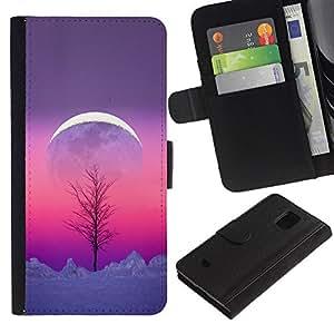 Paccase / Billetera de Cuero Caso del tirón Titular de la tarjeta Carcasa Funda para - Sky Winter Tree Purple Pink Peach - Samsung Galaxy S5 Mini, SM-G800, NOT S5 REGULAR!