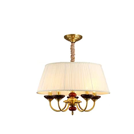 TopDeng Copper Chandelier Shades Classic Pendent Light Bedroom Kitchen E12 Living Room Dining Lamp C 55X36cm