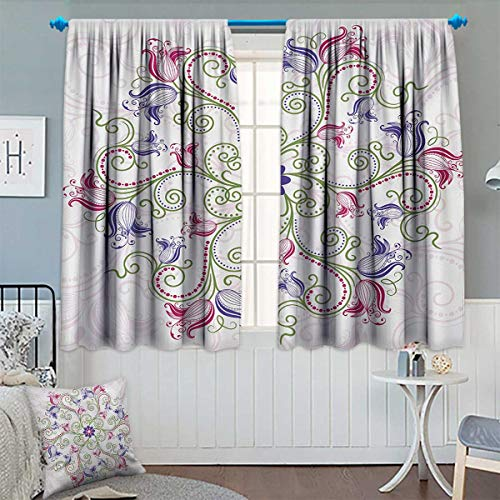 Chrome Tulip Frame (Mandala Room Darkening Curtains Round Flower Frame Design Classical Vintage Floral Art with Ottoman Tulips Decor Curtains by 55