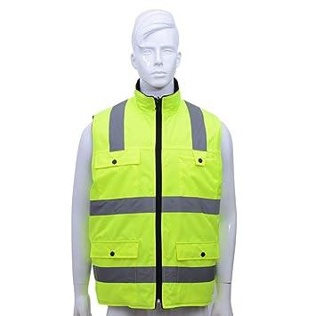 Chaqueta de seguridad reflectante, chaleco de seguridad de alta visibilidad amarillo Chaleco de seguridad de