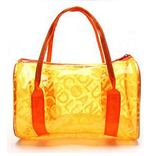 Glield Sommerstrand Wasserdichter Kulturbeutel Transparent PVC, Süßigkeiten Farbe YB01 Orange