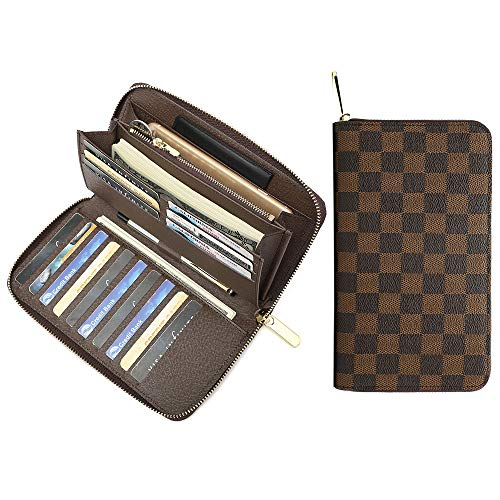 Miracle Large Capacity Checkered Zip Around Travel Wallet and Phone Clutch - RFID Blocking with Card Holder Organizer for Men Women (Brown) ()
