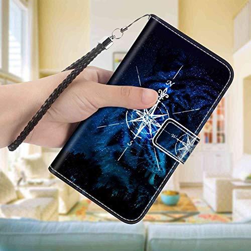 Wallet Case Compatible Apple iPhone 8 Plus, iPhone 7 Plus 5.5 Version Compass Credit Card Pocket