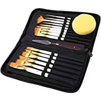 17Pcs Artist Paint Brush Set with Carrying Black Case Palette Paint Knife And Sponge for Watercolour Oil Acrylic Drawing…