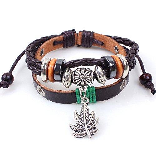 Price comparison product image Winter's Secret Handmade Weave Restore Maple Leaf Pendant Adjustable Beads Brown Leather Bracelet