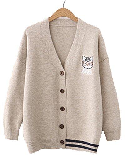 キャンディ少女 森ガール系 カーディガン レディース 猫 刺繍 カーデ 学生服 Vカーディガン ゆったり ニット