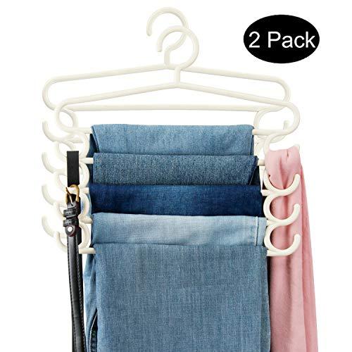 DOIOWN Pants Hangers Slacks Hangers 5 Layer Plastic Space Saving Towels Hangers Multipurpose Hangers Closet Organizer for Scarfs, Belts(2 Pack(PlasticΝde)) ()