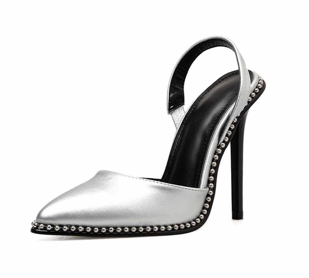 Frauen Spitzen High-Heel Sandaletten 2018 Sommer Neue Niet Metall Perlen Perlen Perlen Charming D'orsay Mode Pumpen dace94