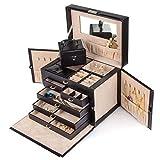 Generic YZ_7**3549**8**YZ_7 Box Case lry Box Storage (Black) Black) Watch Ring Earring izer Leather Jewelry ay Wat Organizer Display YZ_US7_160510_2246