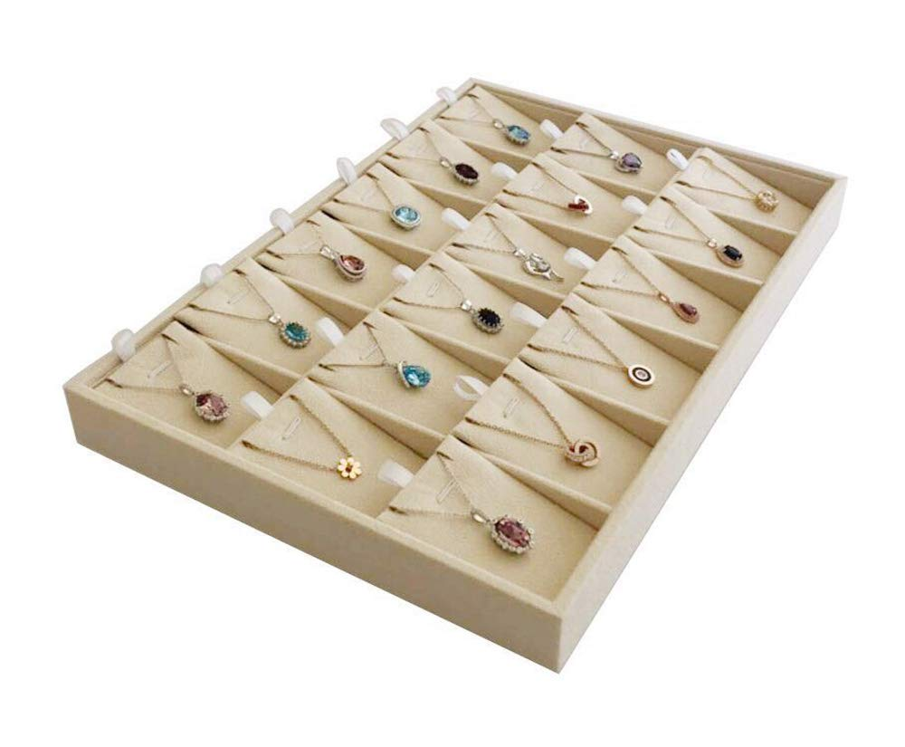 Beige Velvet Jewelry Display Box Tray Pendant Necklace Stackable Trade Show Store Multi Function Pendants
