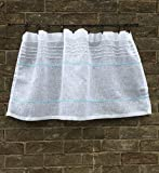 Custom Sheer Light Weight Linen Gauze Kitchen Cafe Curtain Yellow Aqua Blue For Sale