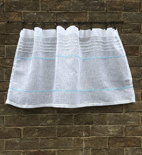 Custom Sheer Light Weight Linen Gauze Kitchen Cafe Curtain Yellow Aqua Blue - Trim Gauze