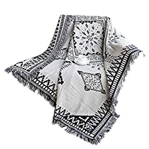 Lemonda Cotton Double Sided Knitted Multi-Function Blanket Throw,71 x 87 (Big Rhombus)