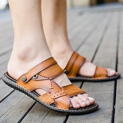 Fondo Fashion HUO Versione Con Confortevole Marrone Kaki Colore Outdoor Morbido Stripes Uomini Coreana Blu Scarpe Sandali Pantofole Spiaggia Blu Marrone Da Personality w6dzXOXxq