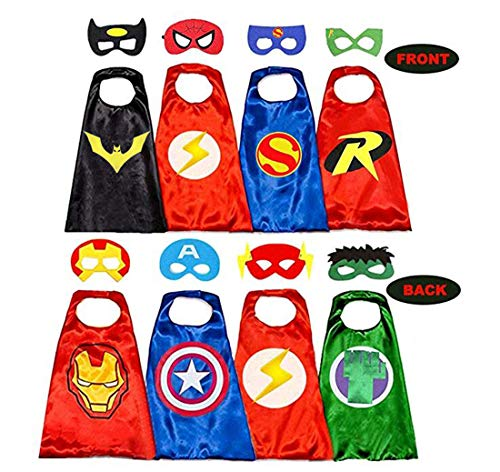 Superhero Capes for Kids, 8 Heroes Reversible