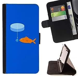 For Sony Xperia Z1 Compact / Z1 Mini (Not Z1) D5503 Case , rybka más kryuchok primanka- la tarjeta de Crédito Slots PU Funda de cuero Monedero caso cubierta de piel