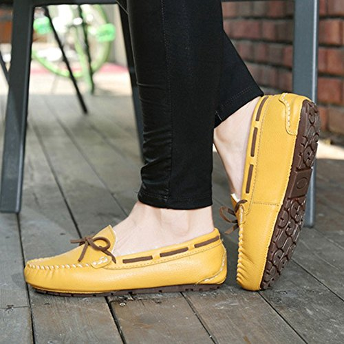 Shoes Non Casual Shoes Flat Yellow Loafers T Moccasin Lightweight Fashion Slip Bowknot Womens JULY Y8nq6U7